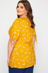 Mustard Floral Button Up Blouse