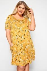 Mustard Floral Pocket Swing Dress