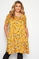 Mustard Floral Pocket Swing Dress