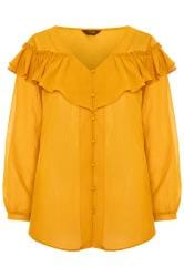 Mustard Yellow Frill Chiffon Blouse
