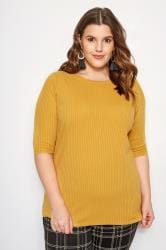 Mustard Yellow Ribbed Top
