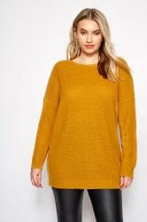 Mustard Yellow Lattice Back Knitted Jumper