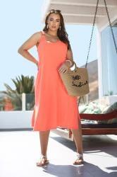 Must Have Summer Dress Neon Orange Ring Detail Midi Dress
