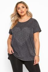 Grey Acid Wash Stud Heart T-Shirt