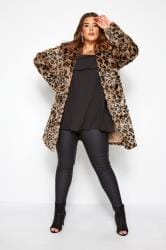 Natural Animal Faux Fur Coat