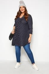 Navy Chevron Pleated Swing Top