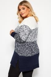 Navy & Cream Colour Block Knitted Jumper