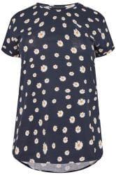 Navy Daisy Mock Pocket T-Shirt