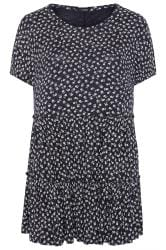 Navy Ditsy Floral Peplum Smock Tunic