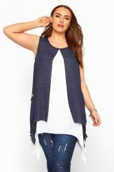 Navy Double Layer Button Pocket Tunic