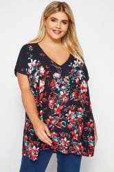 Navy Floral Chiffon Cape Top