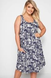 Navy Floral Drape Pocket Dress