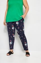 Navy Floral Harem Trousers