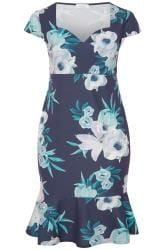 YOURS LONDON Blumen-Kleid mit Godet-Rock - Navy