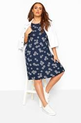 Navy Floral Spotted Swing Dress