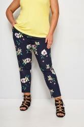 Pantalones estrechos azul marino de flores
