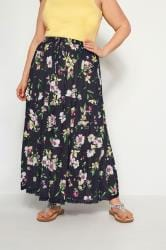 Navy Floral Tiered Maxi Skirt