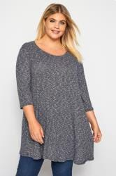 Navy Marl Ribbed Tunic Top