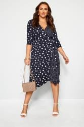 Navy Mixed Polka Dot Wrap Dress