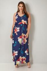 YOURS LONDON Navyblaues Jerseykleid mit Blumenprint