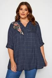 Navy Overhead Floral Embroidered Metallic Check Shirt