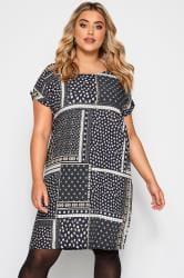 Navy Patchwork Print Shift Dress