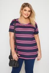 Navy & Purple Stripe T-Shirt