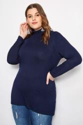 Navy Turtleneck Top