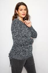 Navy Ruched Hem Lace Jumper