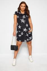 Navy Star Cowl Neck Tunic Dress