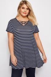 Navy Stripe Lattice T-Shirt