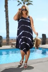 Navy Tie Dye Swing Dress