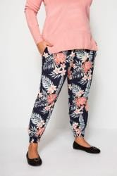 Navy Tropical Harem Trousers