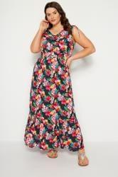 Темно-синее платье макси с тропическим принтом