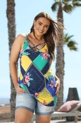 Navy Tropical Scarf Print Lattice Swing Cami Top