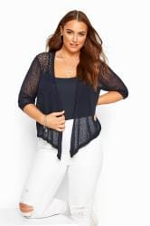 Navy Waterfall Fine Knit Shrug