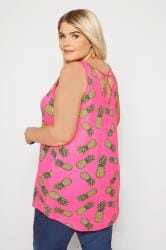 Neon Pink Pineapple Cross Over Back Vest