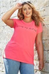 Neon Pink 'Best Life' Slogan T-Shirt