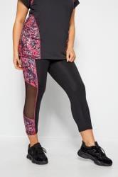 ACTIVE Black Abstract Print Mesh Panelled Leggings