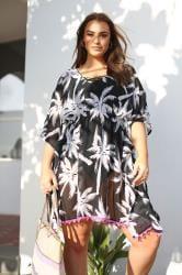 Black & White Tropical Palm Print Cover Up
