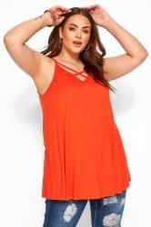Orange Lattice Swing Cami Top