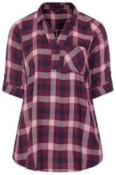 Purple Metallic Check Overhead Shirt