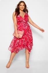 Pink Floral Hanky Hem Dress