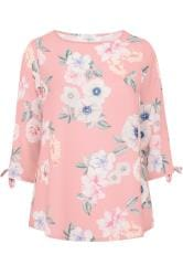 YOURS LONDON Pink Floral Split Sleeve Top