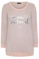 Pink Marl Slogan Stripe Lounge Top