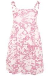 Pink Tie Dye Print Smock Dress