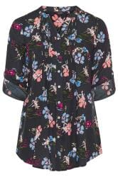 Navy Floral Button Through Pintuck Shirt