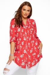 Red Floral Button Through Pintuck Shirt