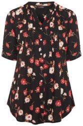Black Sequin Floral Pintuck Shirt