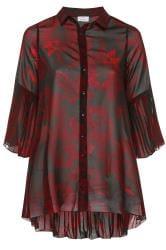 Black Floral Pleated Longline Shirt
